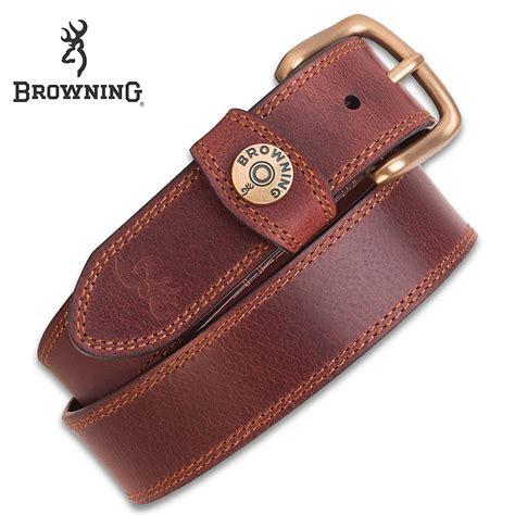 browning s leather slug belt brown genuine leather contrast stitching shotshell detail