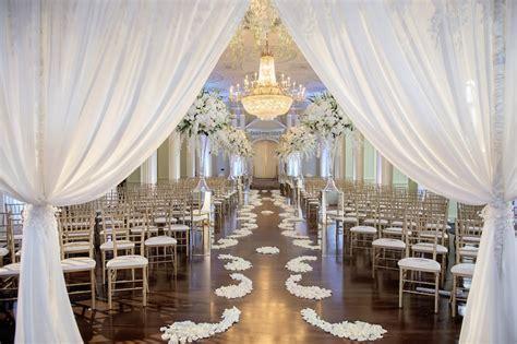 Ceremony Décor Photos   White Drape Ceremony Entrance