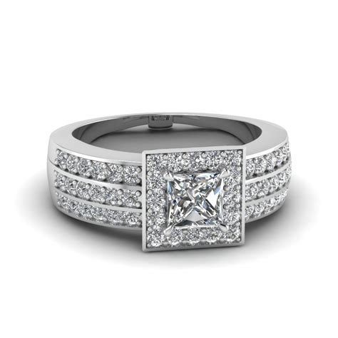 princess cut pave 3 row halo wide engagement ring