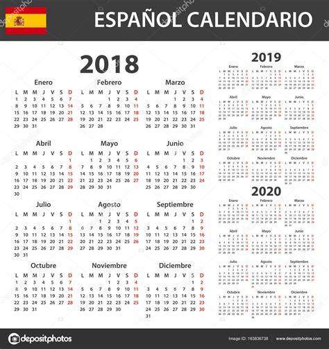 Calendario 2018 Y 2019 Calendario Espa 241 Ol Para 2018 2019 Y 2020 Plantilla De
