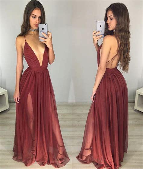 Backless V Neck Dress prom dress v neck backless prom dresses