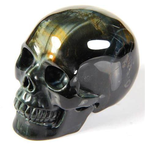 gemstone 2 4 quot blue gold tiger eye carved skull