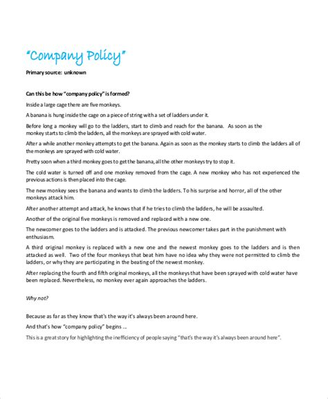 company policies template policy template 10 free word pdf document downloads