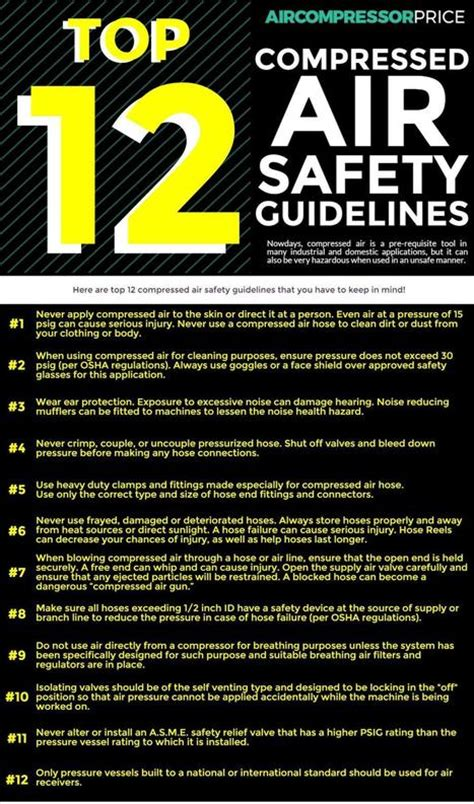 top 12 compressed air safety guidelines infogr