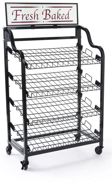 Bakery Display Rack by Angled Shelf Bakery Racks Custom Header Included