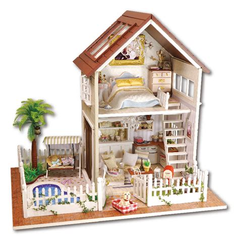 wooden dolls house with furniture home decoration crafts diy doll house wooden doll houses miniature diy dollhouse