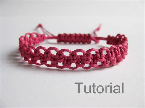 Macrame Bracelet Tutorials - pattern bracelet macrame pdf tutorial pink knotted adjustable