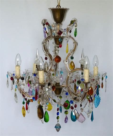 Coloured Chandeliers Uk 6 Arm Prism Cage With Coloured Drops The Vintage Chandelier Company The Vintage Chandelier