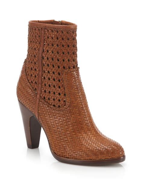 woven boots frye celeste woven leather boots in brown lyst