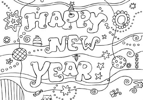 Colour Drawing Free Hd Wallpapers Happy New Year 2015 New Years Coloring Pages