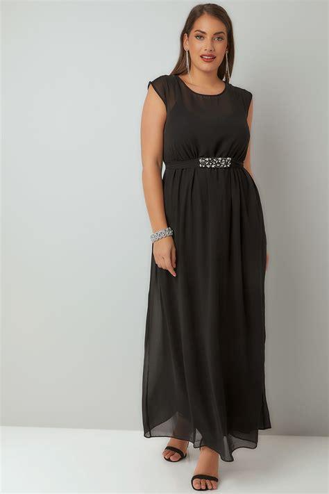 Id 740 Split Mesh Dress black chiffon maxi dress with embellished tie waist