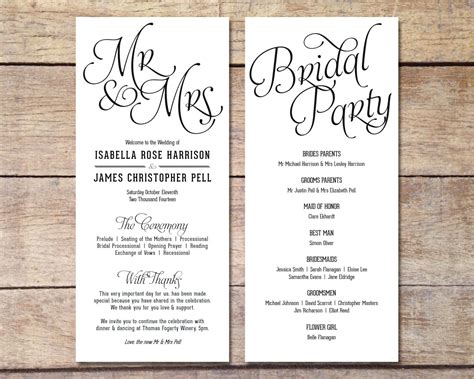 simple design program simple wedding program customizable design simple classic wedding black and