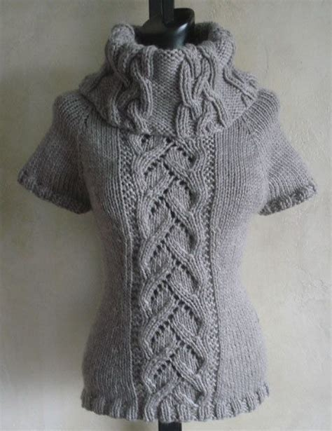 90 Chic Cables And Lace Cowl Neck Sweater Pdf Knitting