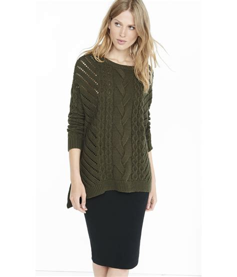 knit sweater oversized express oversized open cable knit tunic sweater in green