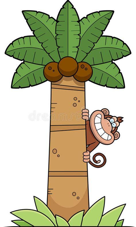 cartoon monkey tree stock vector illustration  clipart