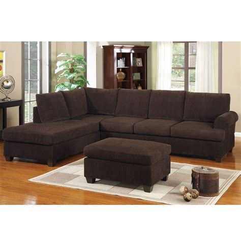 Ottoman Sectional 3 Pc Modern Reversible Chaise Sectional Sofa W Ottoman Chocolate Fabric Ebay