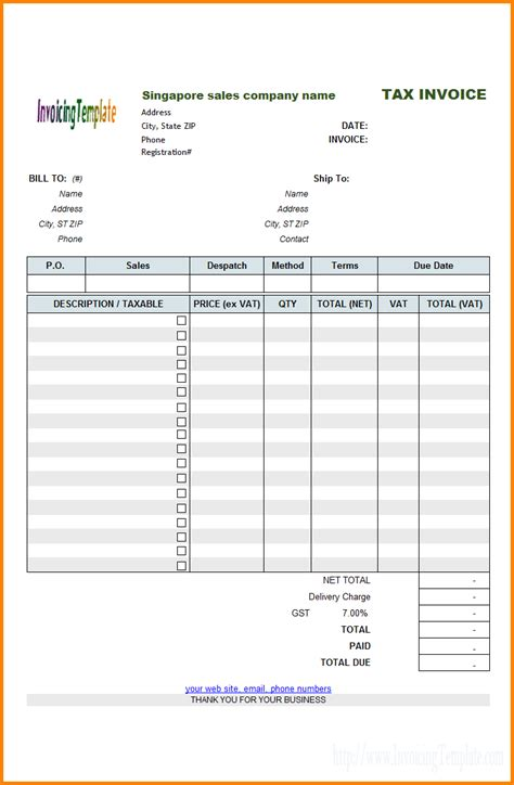 tax invoice template nz 8 bill format with service tax simple bill