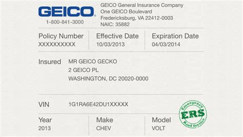 Florida Automobile Insurance Identification Card Template by Geico Insurance Cards Template Printable