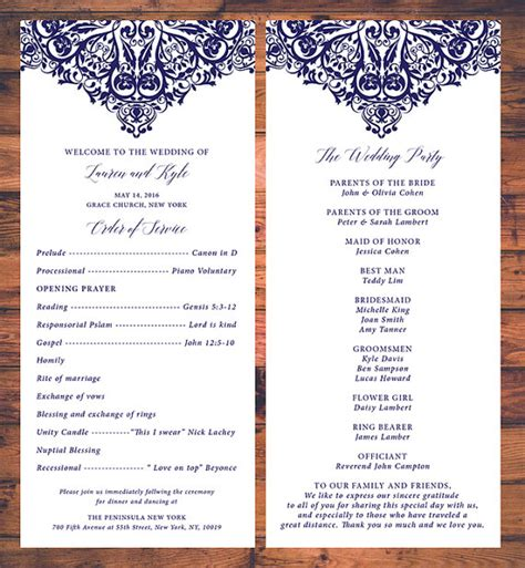 traditional wedding program templates wedding ceremony programs card traditional wedding