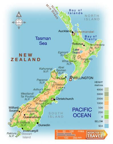 new zealand physical map new zealand map