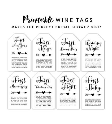 free printable bridal shower tags wine tags bridal shower gift first baby first anniversary