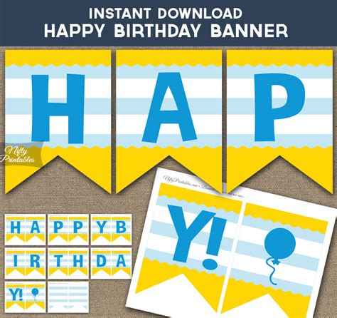 printable yellow banner printable happy birthday banner kids yellow blue stripe