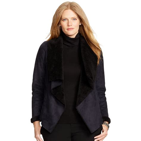 faux shearling drape jacket ralph lauren faux shearling jacket in black lyst