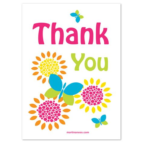 Thank You Card Design Template by Colorful Thank You Card With Butterflies Invitations