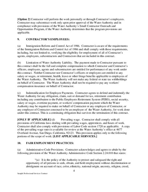 sle contractor agreement template professional service agreement template 28 images sle