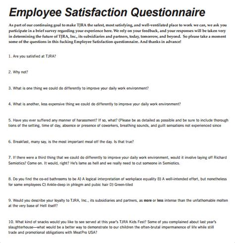 employee satisfaction survey template employee satisfaction survey 9 free documents