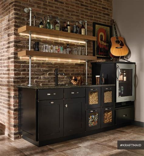 Rustic Bathroom Tile - kraftmaid cherry kitchen bar area with led lighting rustic home bar detroit by kraftmaid