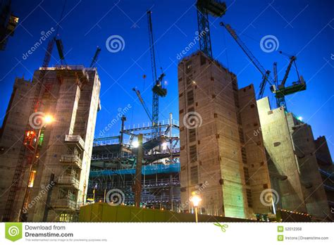 when is next bank in uk building site with cranes in the city of business