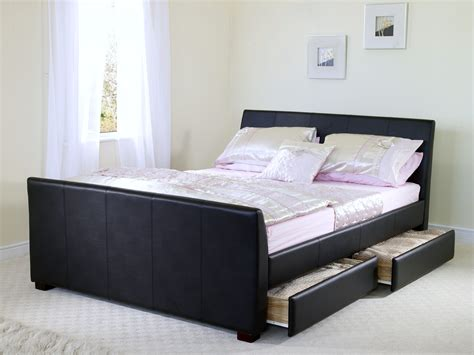 leather bed frames with storage sandhurst brown leather bed frame four storage