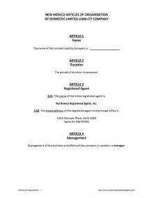 Llc Articles Of Organization Template by New Mexico Llc Articles Of Organization Free Template