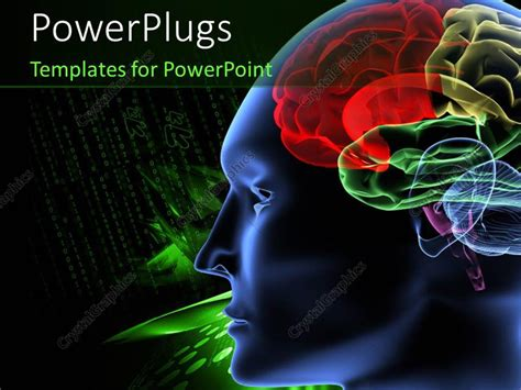 Powerpoint Template Black And Green Background With Scan Of Human Brain 3994 Brain Powerpoint Template