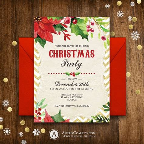 christmas party invitation rustic poinsettia winter