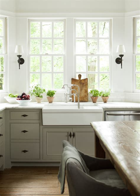 windows kitchen sink kitchen bay window with farmhouse sink and deck mount faucet transitional kitchen