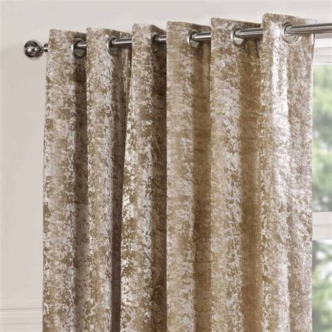 Pair Of Crushed Velvet Lined Eyelet Ready Made Curtains Ebay