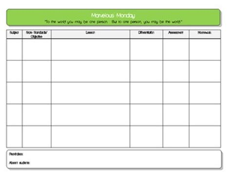 daily lesson plan template pdf daily lesson plan template 5 subject pdf by tpt