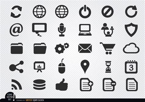 Simply Me Graphic 4 simple icons set vector