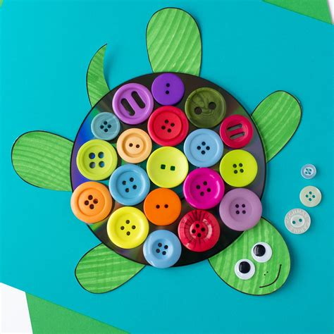 kid and craft colorful cd button turtle craft for