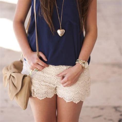 Skort Celana Pendek Korea White Lace 2 7 Y the best lace shorts navy wheretoget