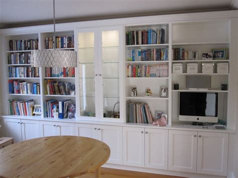 White Bookcases With Built In Desk Traditional Living Built In White Bookcases
