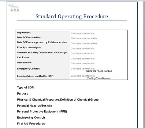 procedure template 37 best standard operating procedure sop templates