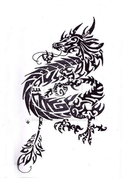 chinese dragon tribal tattoo simple ellenslillehjorne