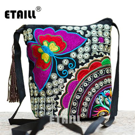 ethnic hmong boho indian embroidered small shoulder bag