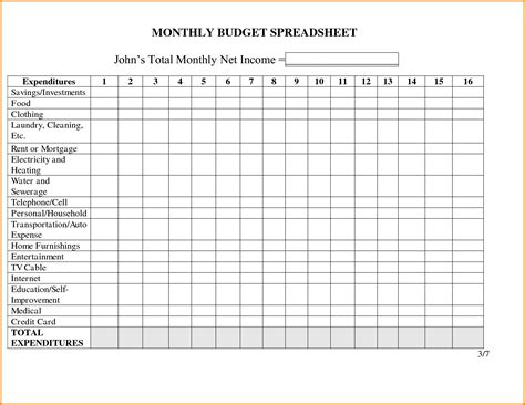 monthly spending template monthly expense worksheet davezan