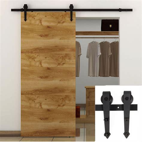 Single Door Closet 7 5ft Black Country American Arrow Style Barn Wood Steel Sliding Single Door Hardware Closet Set
