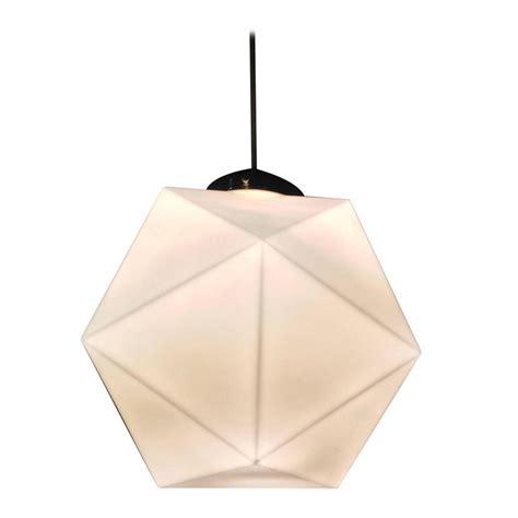 Mid Century Faceted Milk Glass Geometric Pendant Light At Geometric Pendant Lights