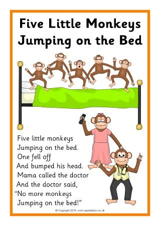 monkeys jumping on the bed five little monkeys jumping on the bed song sheets